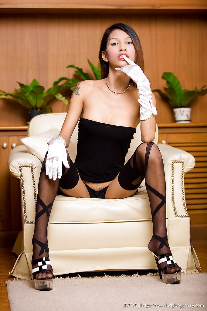 Arousing Thai Tranny Dada Poses Her Sensuous Legs In Nylons And High Heels