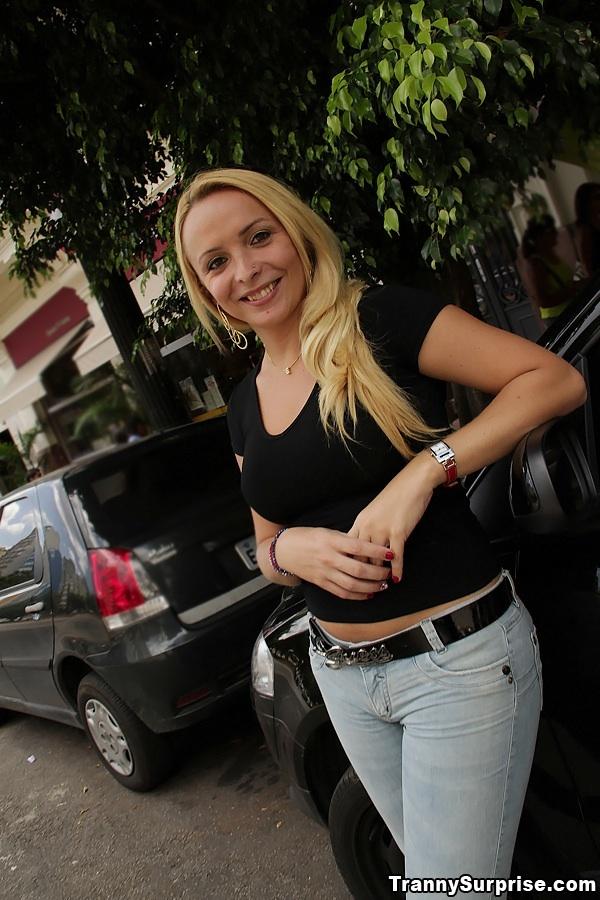 Beautiful Blonde Latina Ladyboy Erika Vasconcelos Flaunting Huge Juggs