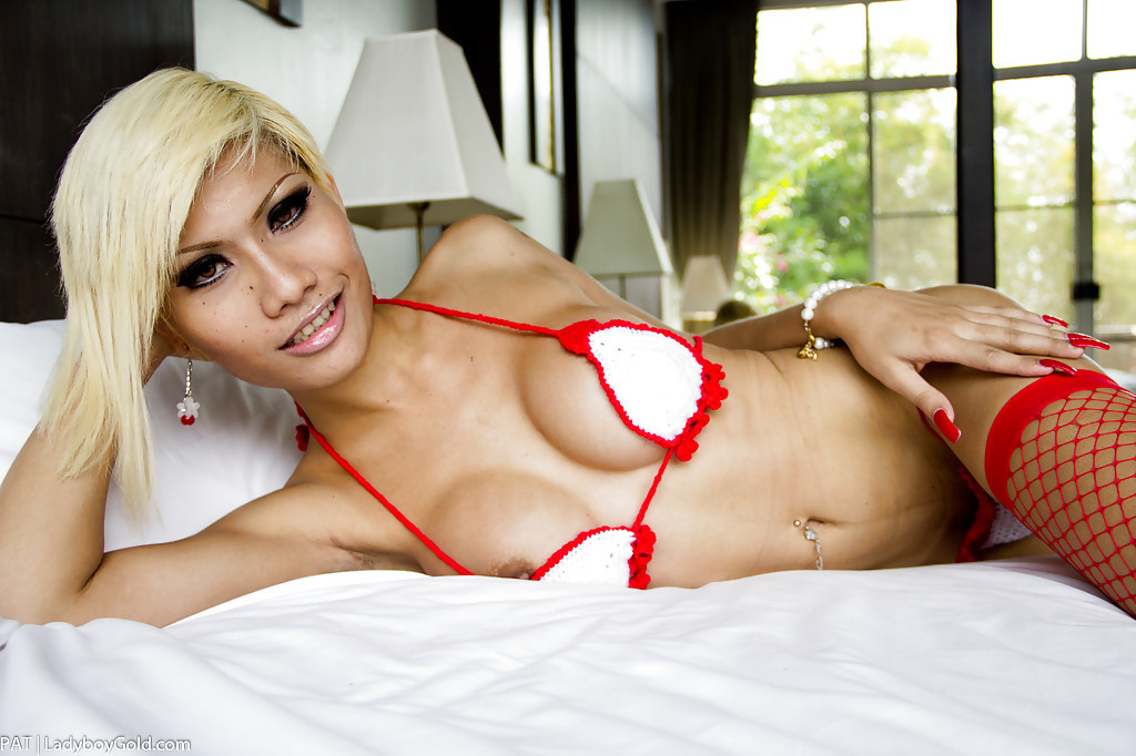 Beautiful Blonde Thai Transexual Pat Spreading Her Ass-Hole In Lingerie And Heels