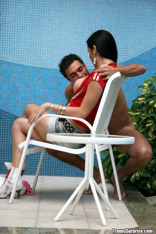 Beautiful Brunette Latina Femboy Kalena Spreading Her Legs Poolside