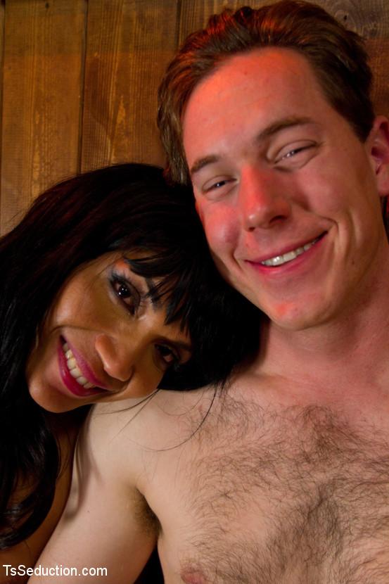 Beautiful Dark Skinned T-Girl Yasmin Lee Dominating With Her Massive Penis