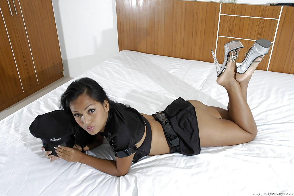 Beautiful Thai Police Officer Transexual Amy Posing Solo With Handcuffs On