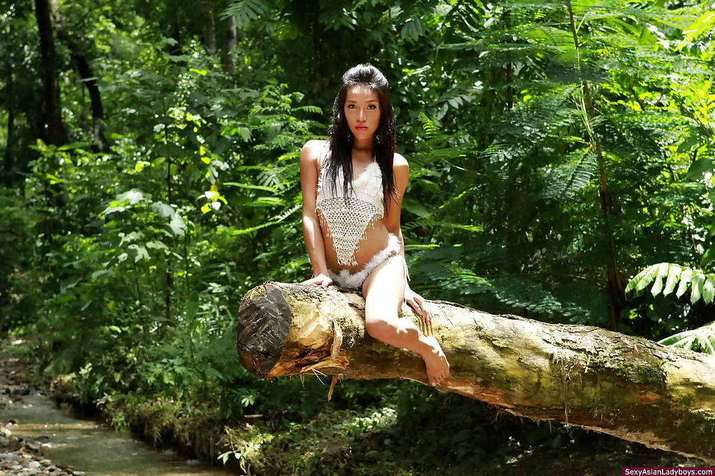 Beautiful Thai TGirl Showing Off Her Hairy Penis Outdoors