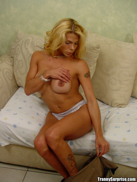Blonde Latina T-Girl Barbie Masturbating Shedick While Getting Butt Smashed