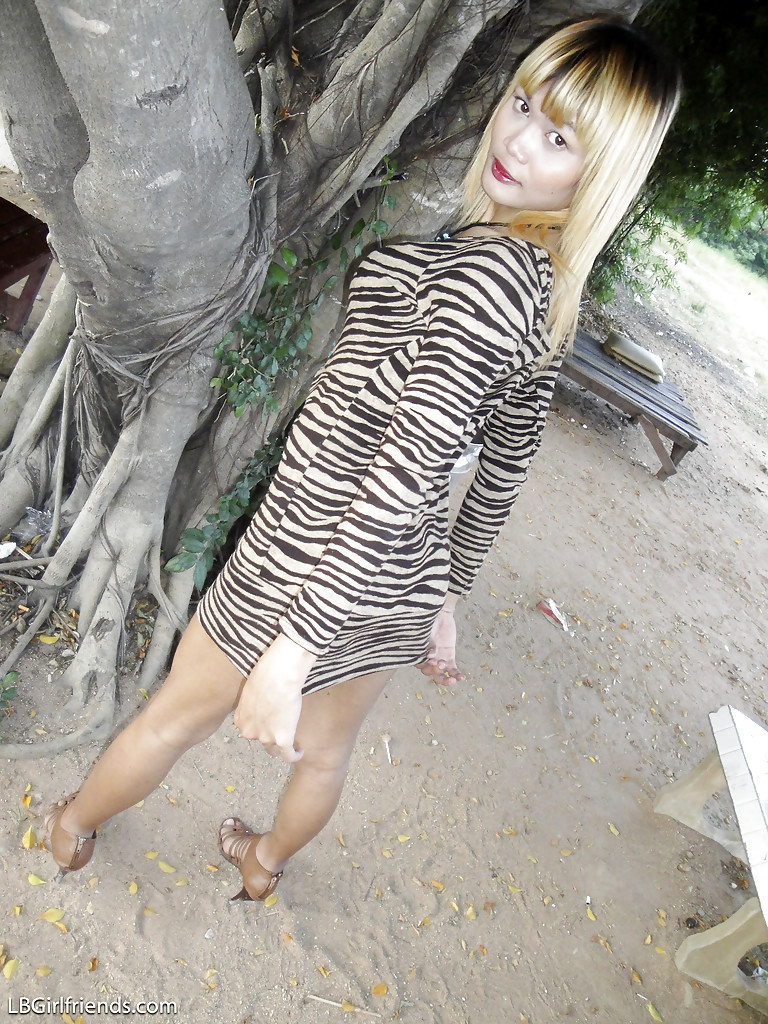 Blonde Little Tit Thai TGirl Wa Showing Off Her Hung Tool Outdoors