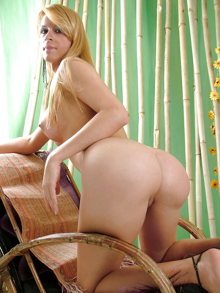 Blonde Solo T-Girl Suelen Montiel Baring Enormous Tits And Large Shaved Dick