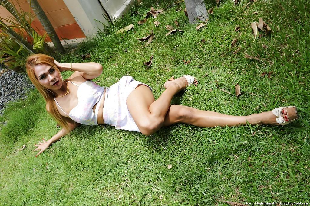 Blonde Thai T-Girl Masturbating Off Uncut Dick Outdoors For Cumshot