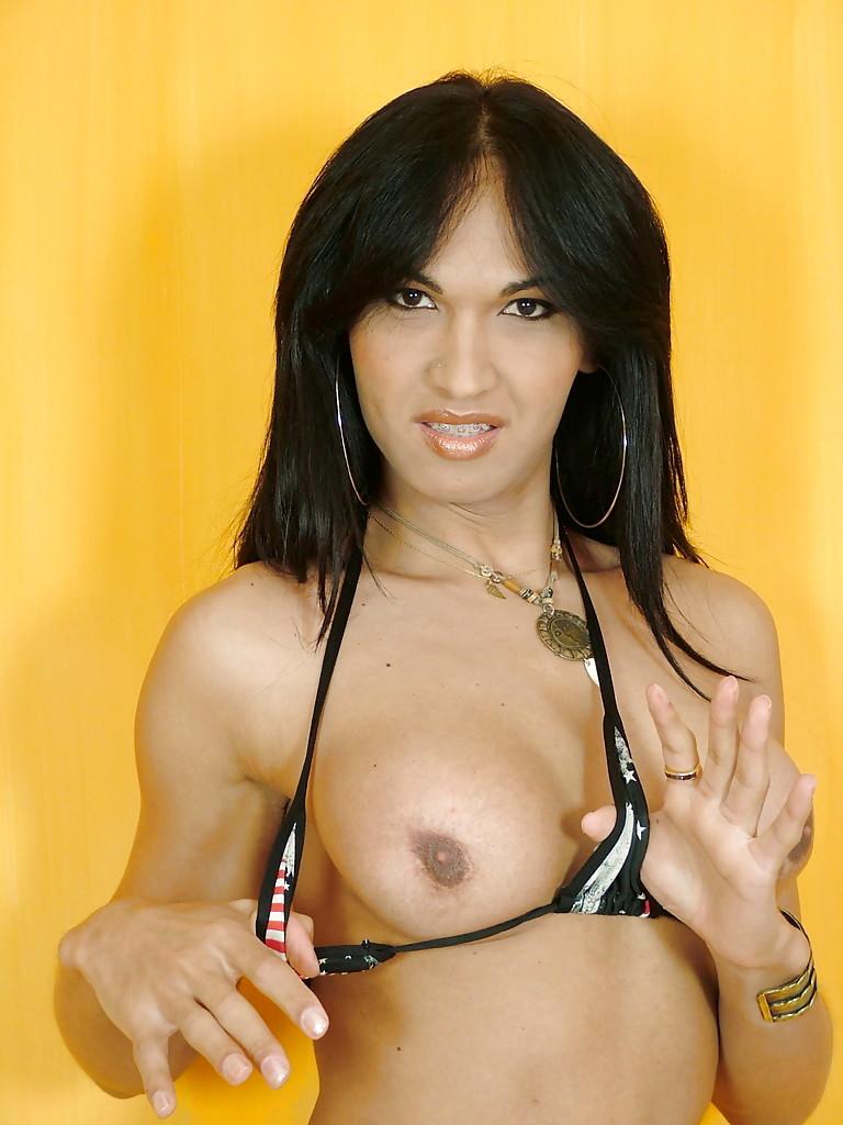 Brunette Latina T-Girl Carla Abiazzi Releasing Enormous Boobs From Bikini