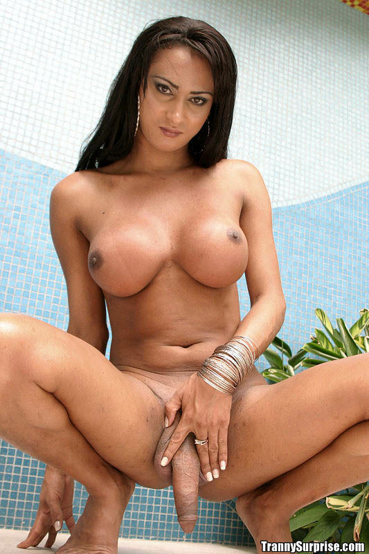 Brunette Latina TGirl Katia Using Her Enormous Boobs To Get A Penis Rough
