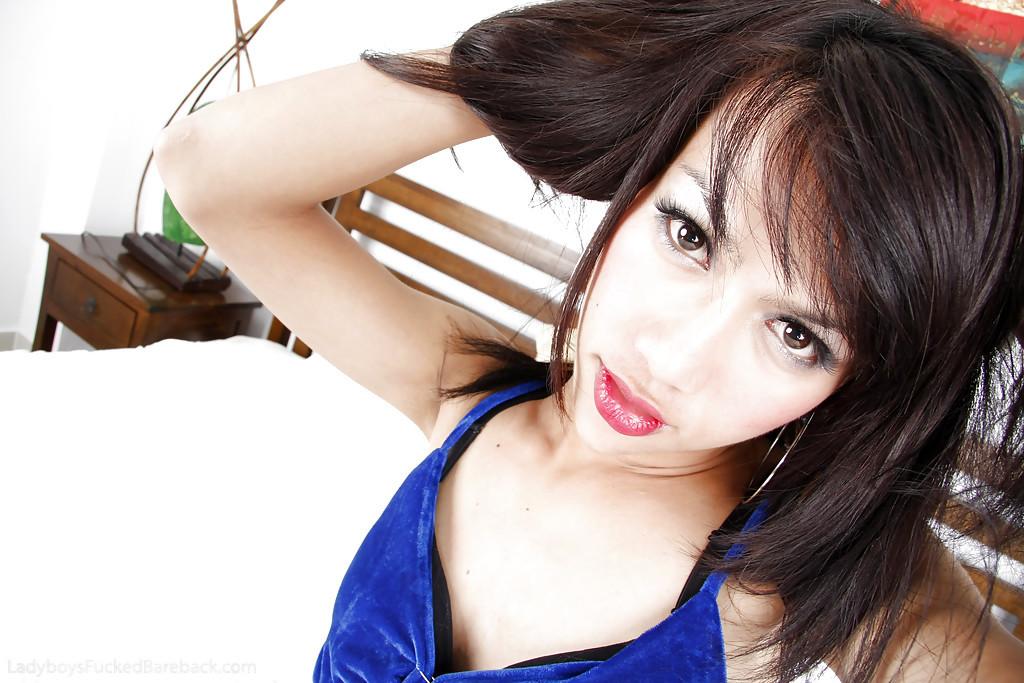 Brunette Teen Thai Femboy X Posing In A Blue Dress In Her Bedroom