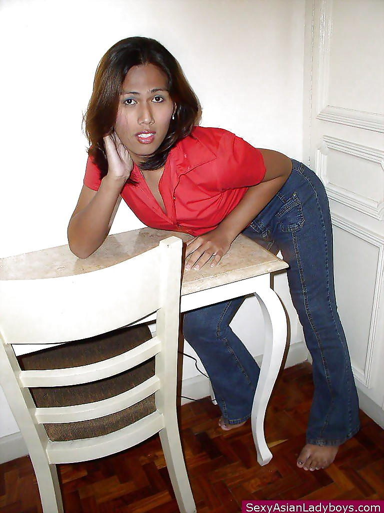 Brunette Thai Transexual Posing In Jeans And Showcasing Her Hairy Penis