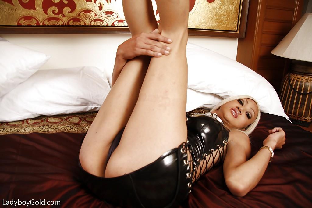 Busty Blond Tgirl Natalie Bound For Kinky BDSM In Latex Uniform