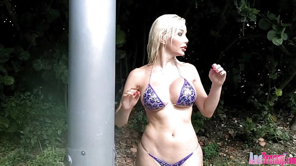 Busty Blonde Ladyboy Ana Mancini Stripping Off Bikini Outside