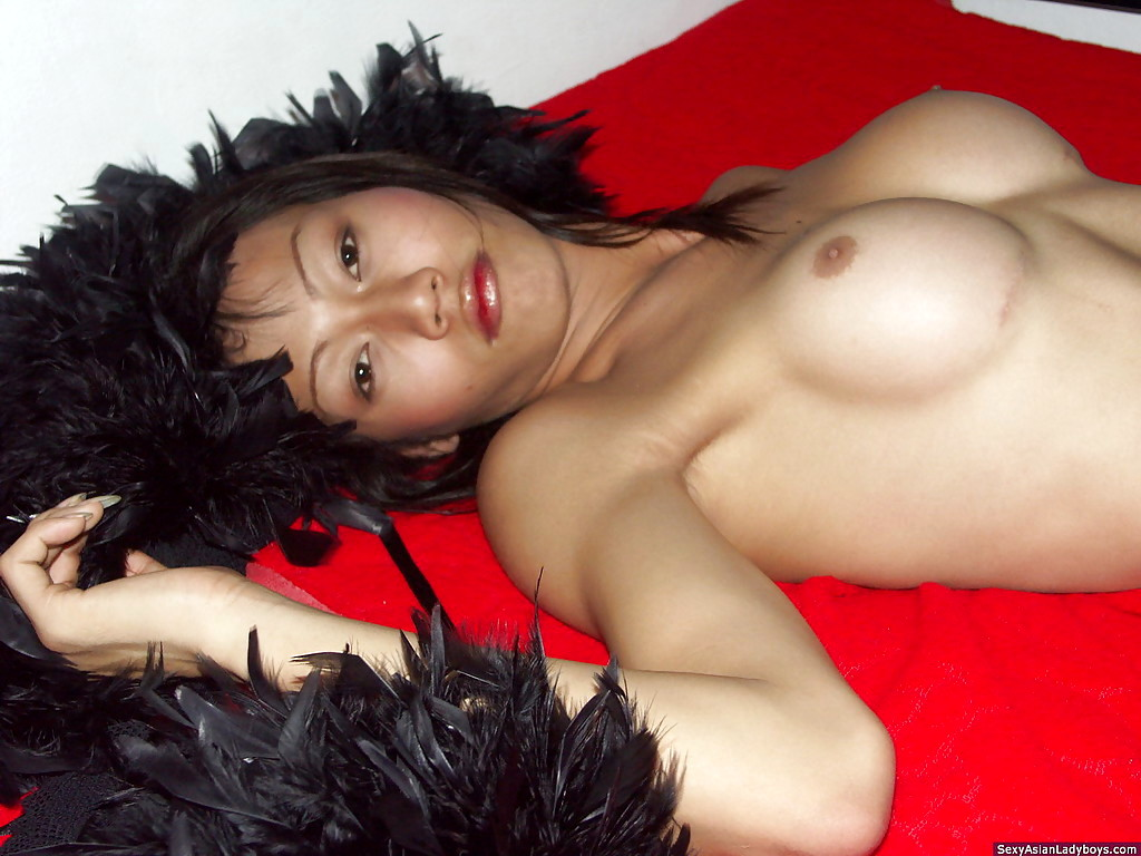 Busty Brunette Thai Tgirl Masturbating Off And Cumming On Her Stomach