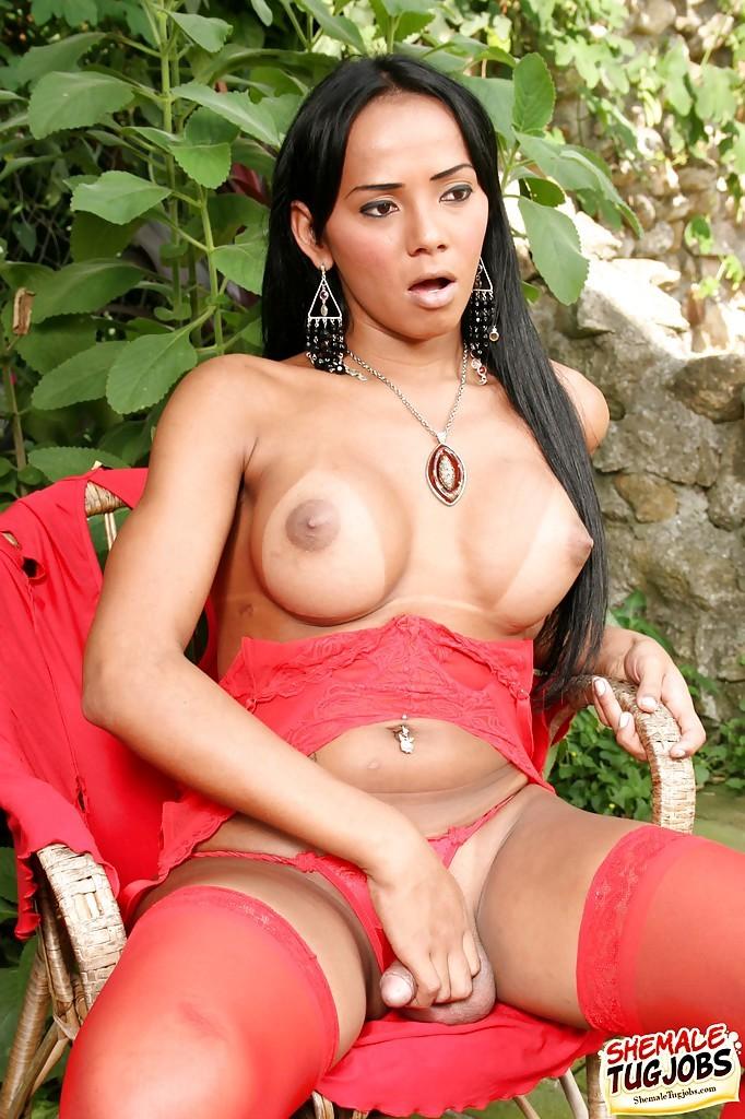 Busty Thai Femboy Shayany Kevellin Masturbates Enormous Tool Outside In Nylons