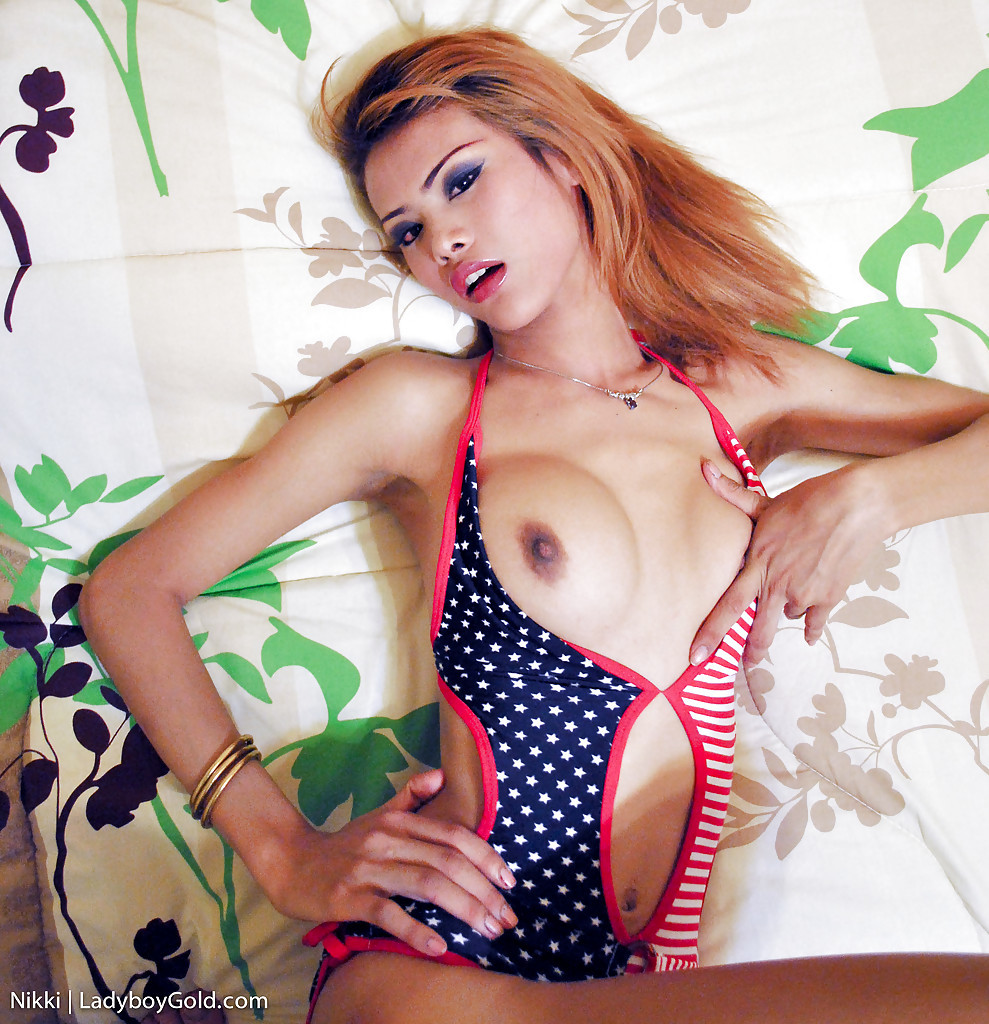 Busty Thai Tgirl Nikki Strikes Of Provoking Solo Pose In Dress