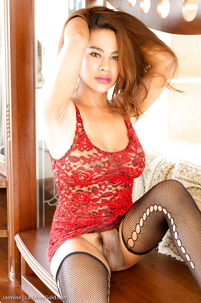 Busty Thai Transexual Jasmine Masturbating Off Her Massive Cock In Stockings