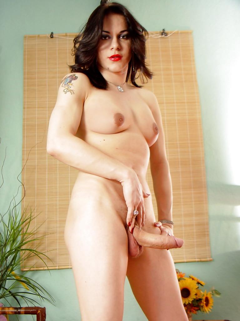 Chunky Brunette Solo T-Girl Barbara Kysivics Revealing Large Hairy Cock