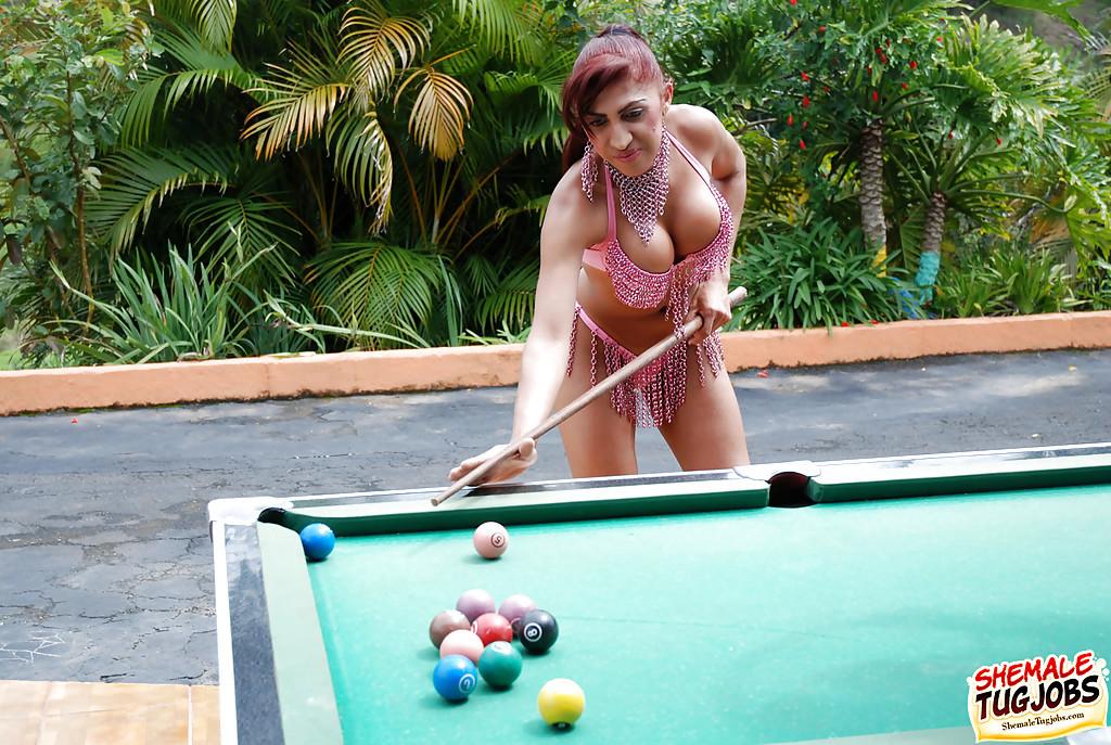 Curvy Ebony T-Girl Paola Pink Wanking Shaved Penis Outdoors