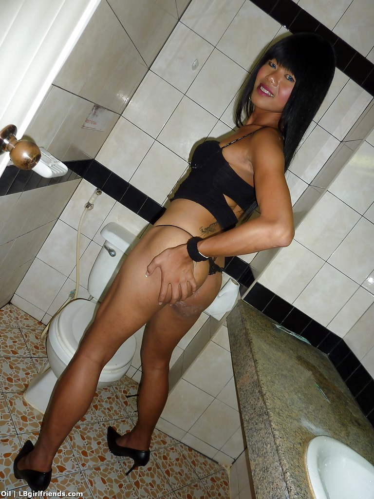 Cute Asian TGirl Oil Jacking Off Tinie Shaved Shecock In Bathroom