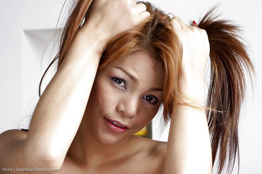Cute Brunette Thai T-Girl Anny Stroking Her Huge Hairy Dick And Posing