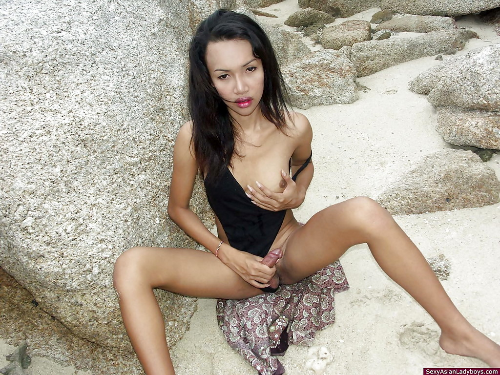 Cute Busty Asian Cutie Playing With Her Tool Outdoors Until Shooting Her Load
