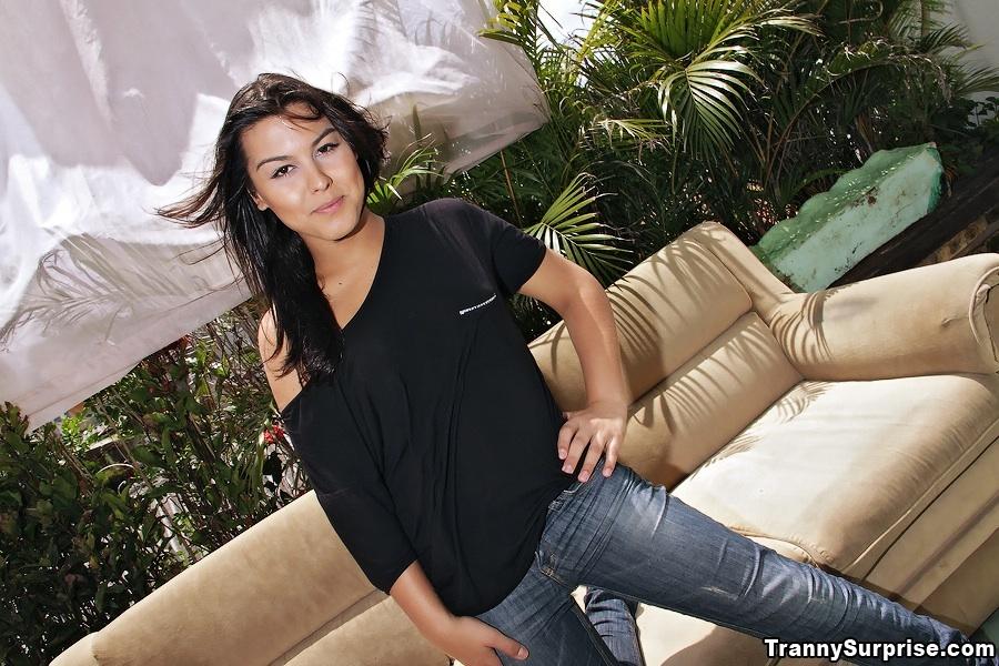Cute Latina Transsexual Barbara Goulart Takes Deep Anal Nailing From Stud