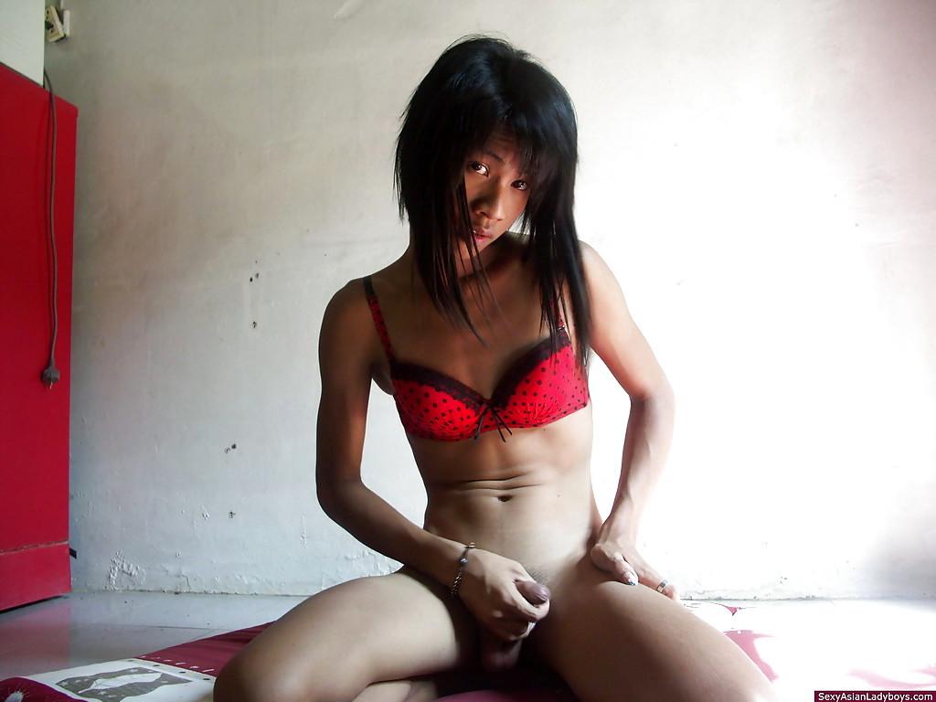 Cute Naughty Thai Tranny Masturbating Off Her Meaty Tool And Spreading