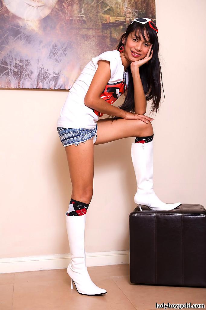 Cute Tgirl Schoolgirl Pinky Shows Us Her Nice Panties And Socks