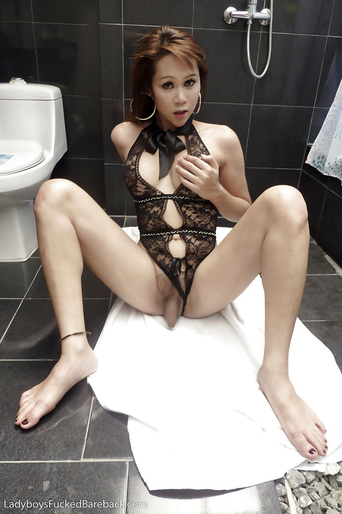 Cute Thai Shemale Tay Getting Smashed Doggystyle On The Bathroom Floor