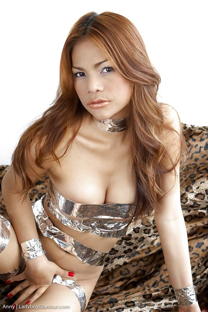 Cute Thai TGirl Anny Has Huge TGirl Breasts And Petite Uncut Dick
