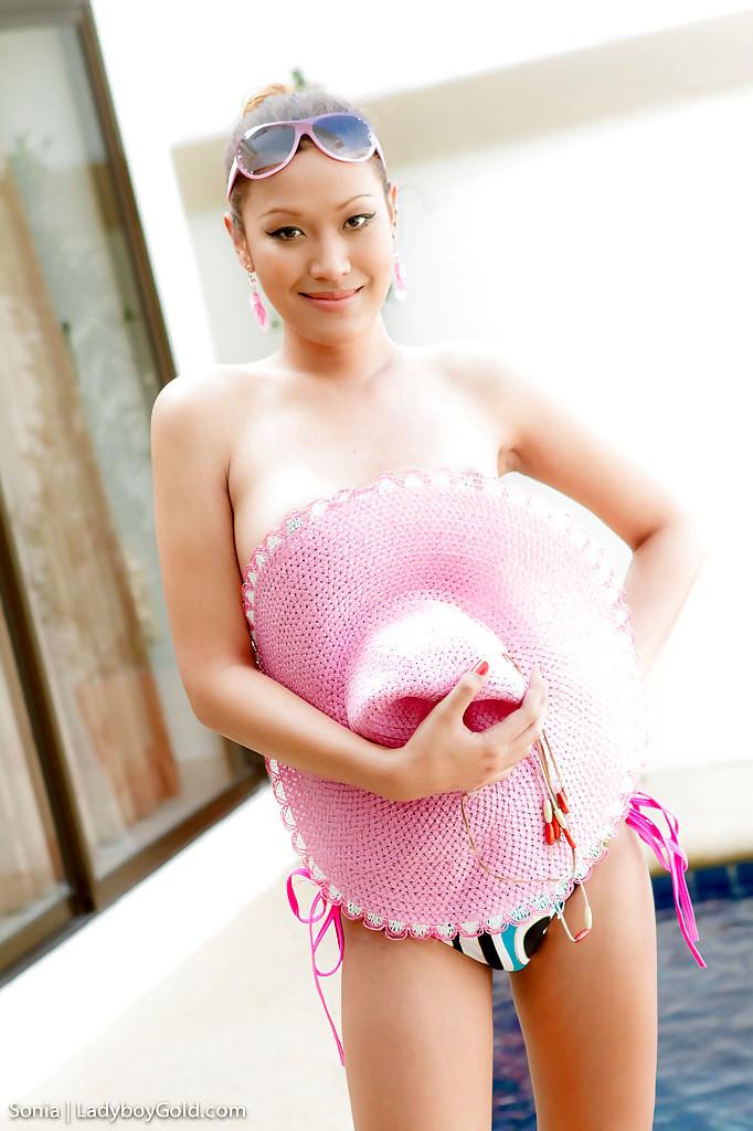 Cute Thai Tgirl Sonia Strips Off Bikini For Masturbation Session By Pool