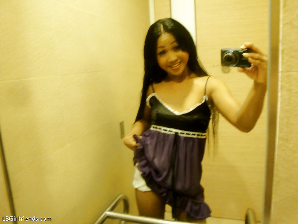 Cute Tiny Tit Asian Tgirl Kem Posing In High Heels And Stroking Her Tool