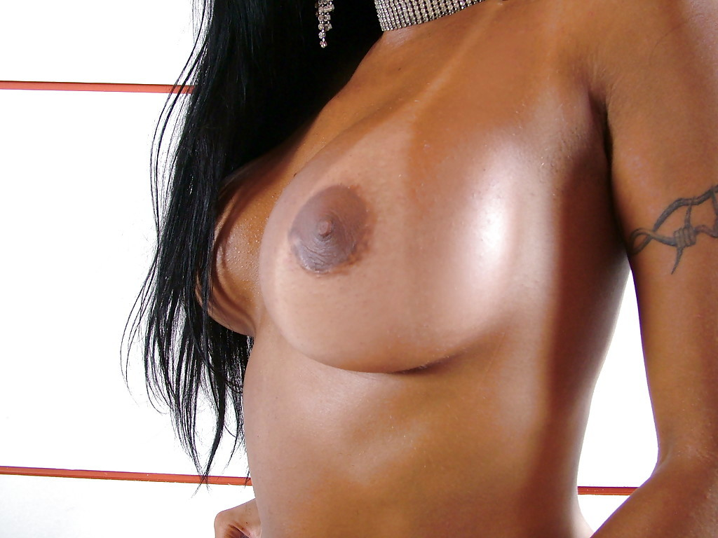 Ebony Tranny Ambra Veruty Flaunting Awesome Trans Breasts During Solo Poses