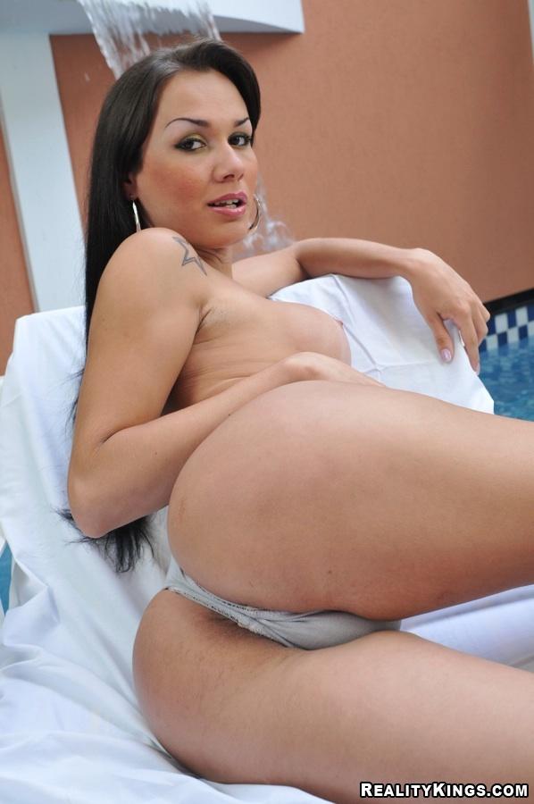 Filthy Shaved Latina TGirl Kalina Enjoying A Deep Bum Stuffing