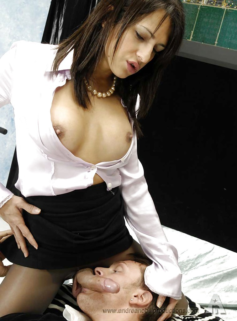 Gorgeous Brunette Transexual Enjoying Anal Sex In Lingerie And High Heels