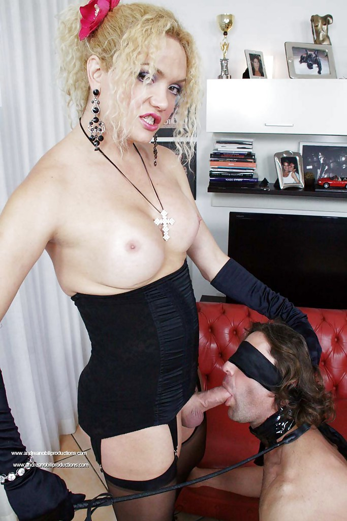 Gorgeous Busty Blonde TGirl Dominating Her Slave With Her Massive Tool