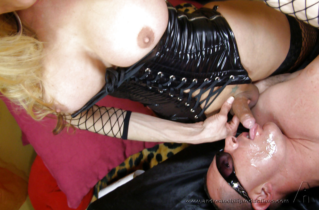 Gorgeous Busty TGirls Getting Together And Nailing A Man In Latex