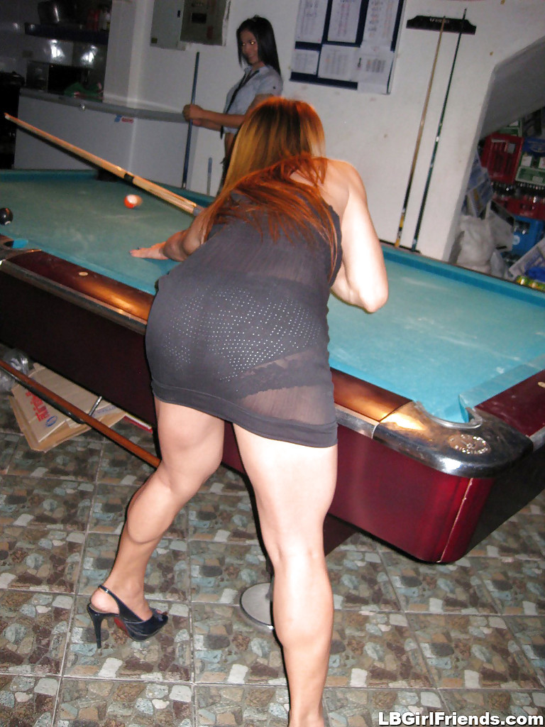 Gorgeous Busty Thai Shemale M Bending Over While Playing Pool