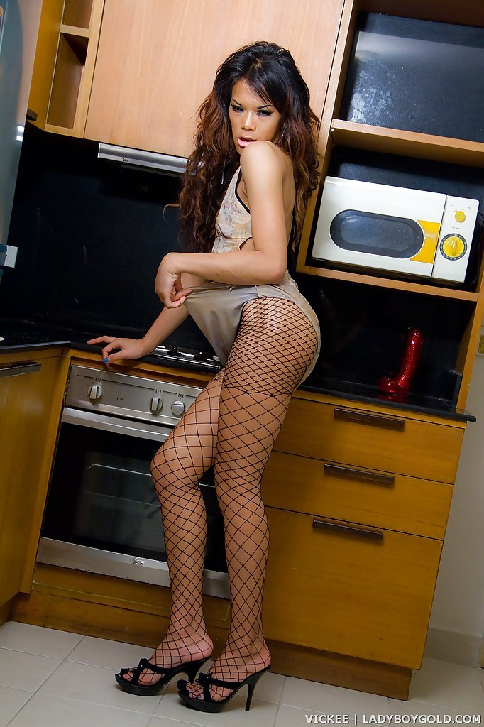 Gorgeous T-Girl Vickee Gets Kinky In Kitchen With High Heels On