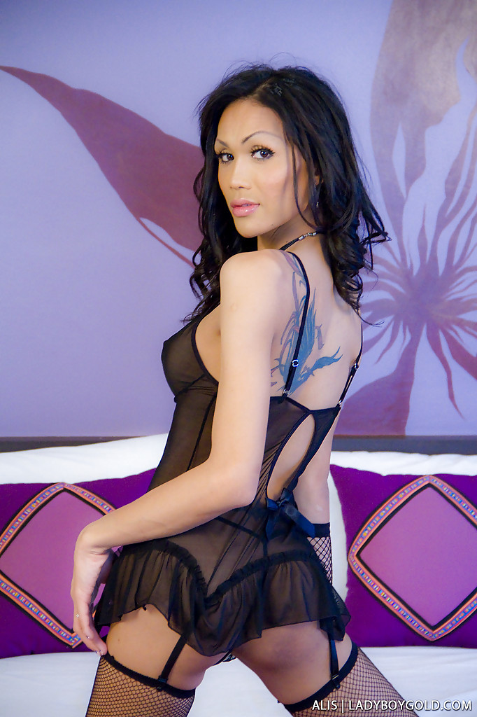 Gorgeous Tgirl Alis Spreading Ass-Hole Cheeks In Sheer Lingerie