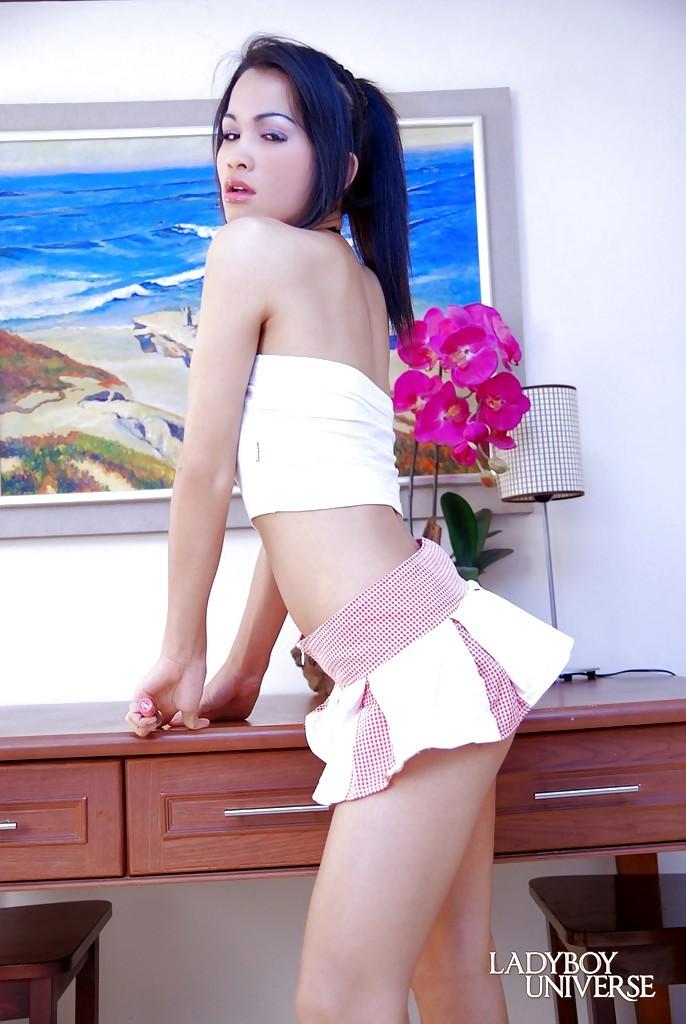 Gorgeous Thai Femboy Jessy Tai Striking Spicy Poses In Short Pleated Skirt