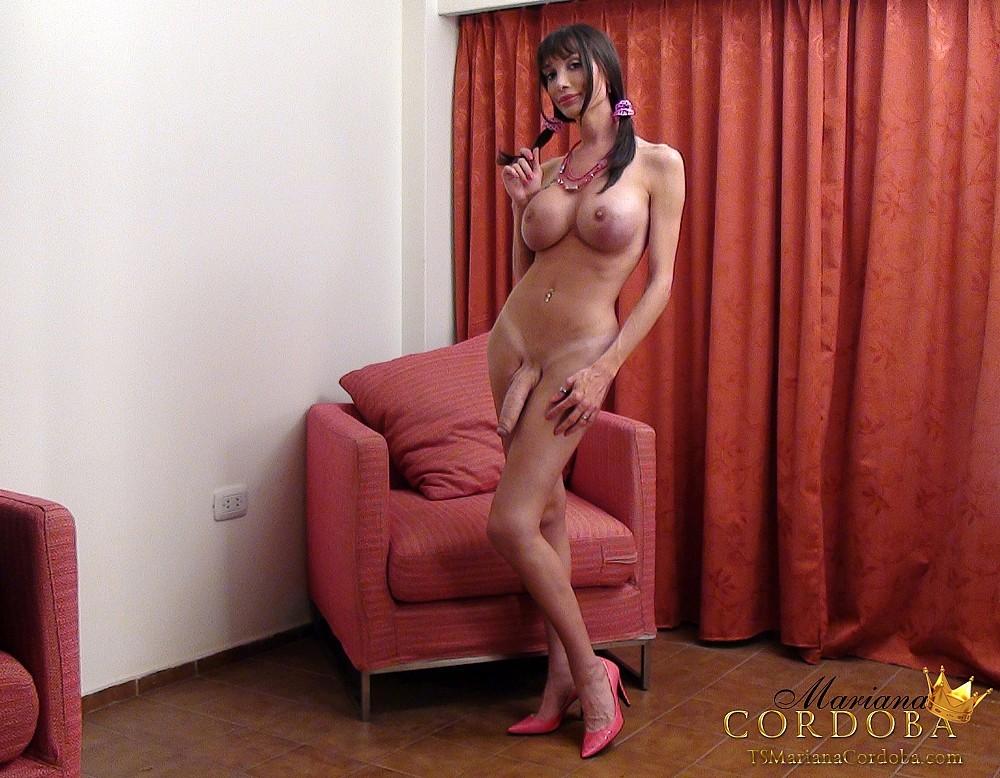 Hung Shemale Mariana Cordoba Posing In Bikini And Jacking Off Enormous Shedick