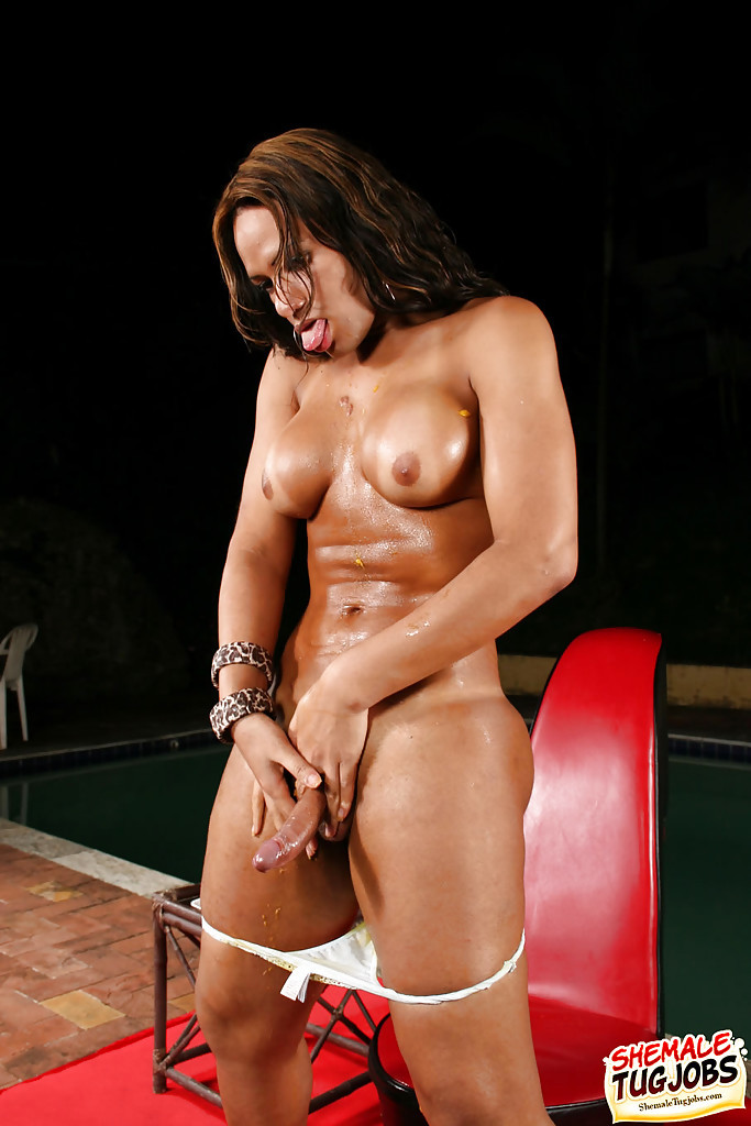 Kinky Latina Transexual Pati Colt Masturbating Off With Food In High Heels And Skirt