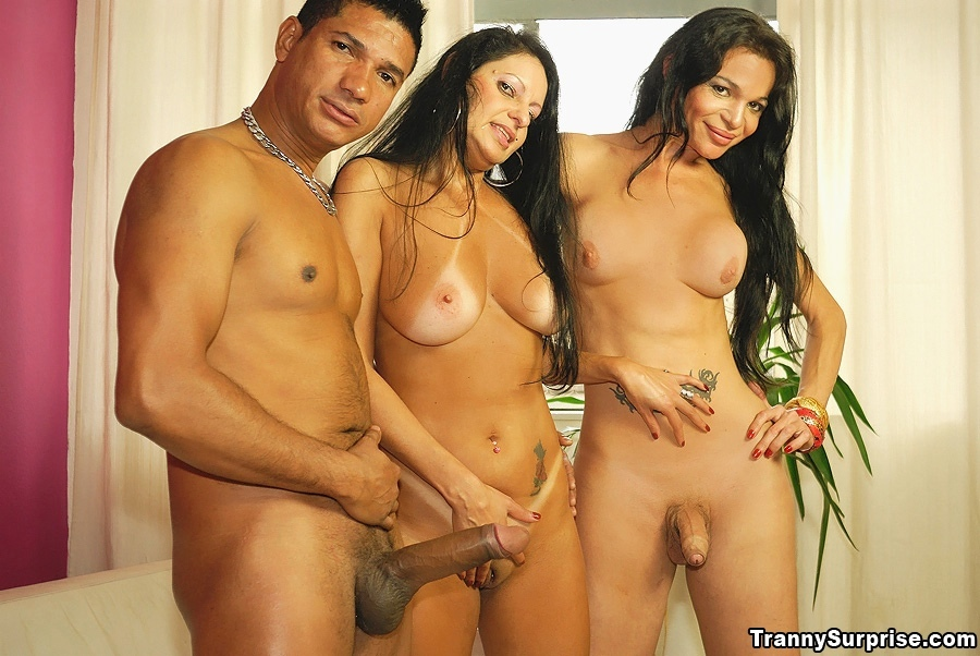 Latina TGirl Alessia Barbosa Joins Mature Couple For Wild Threesome Sex