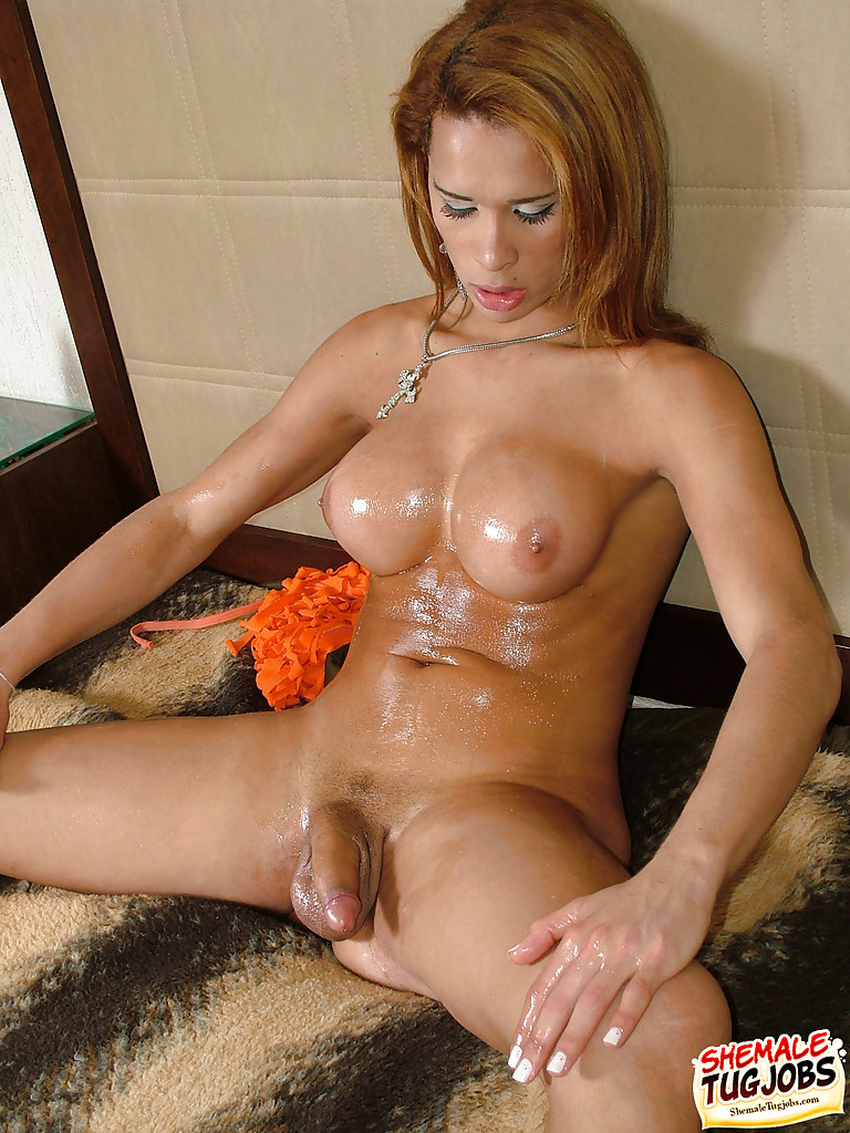 Latina Transexual Dartilly Richilliely Oils Juggs And Penis Before Wanking
