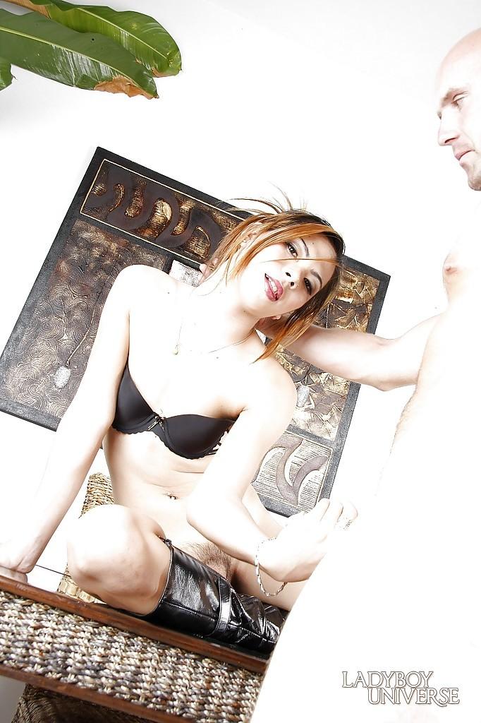 Little Tit Thai TGirl Bell Tai Enjoying A Hardcore Deep Dicking