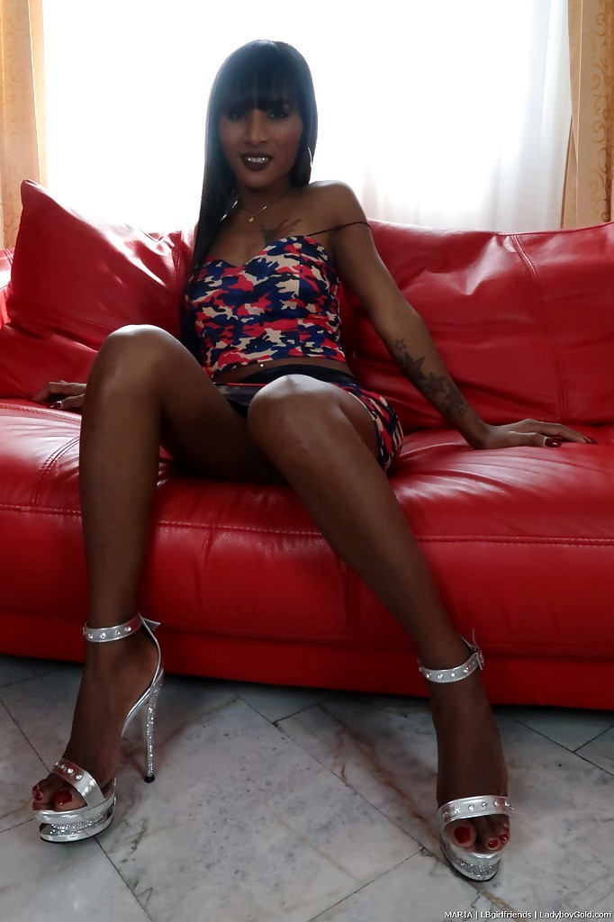 Long Legged T-Girl Maria Undressing For Sexual Relations With Well Hung Dude