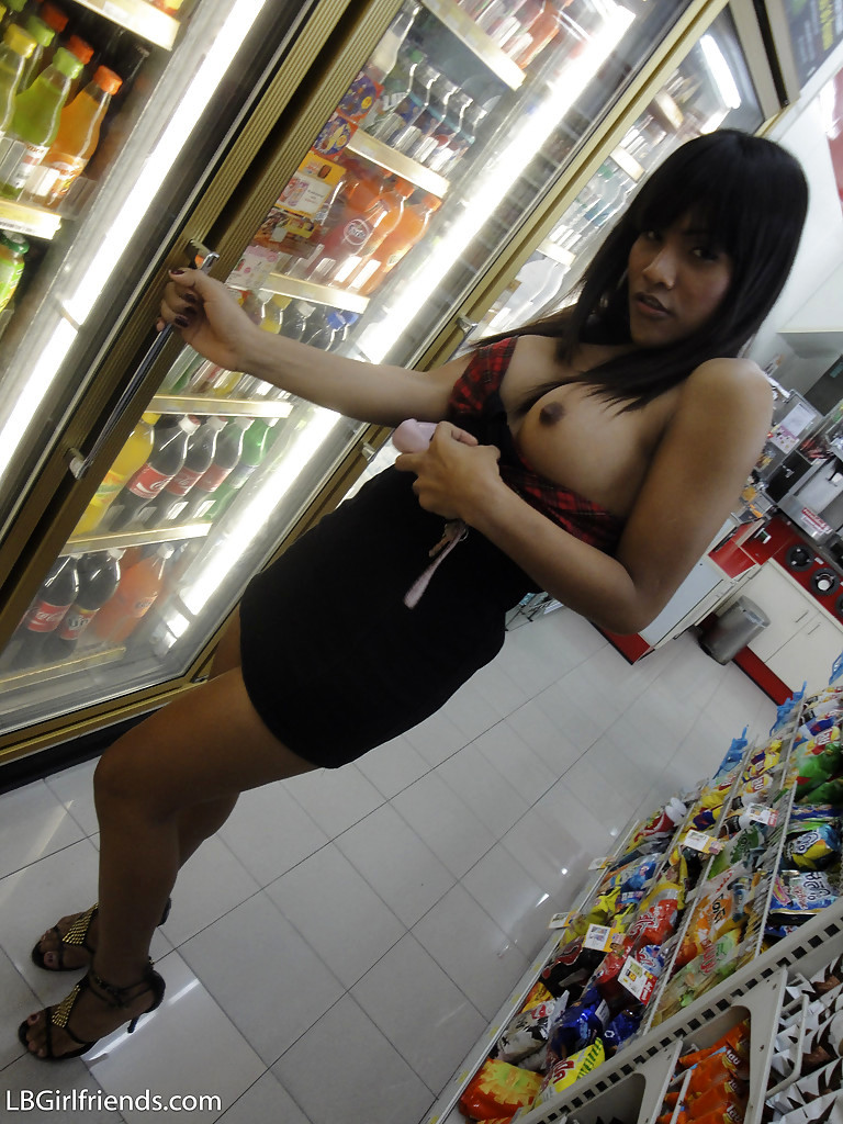 Massive Tit Thai T-Girl Kyrsha Playing With Toys And Stripping In Public