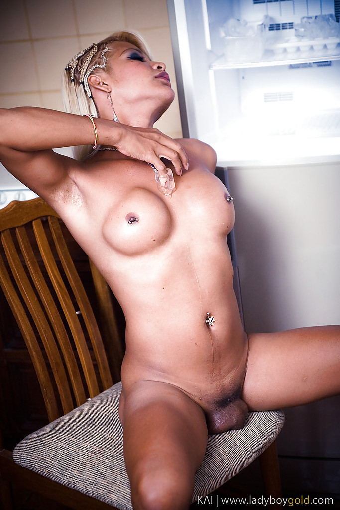 Nasty Blonde Asian TGirl Kai Having Fun With Her Huge Pierced Boobs